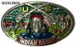American Indian Scout Belt Buckle + display stand. Code BE1